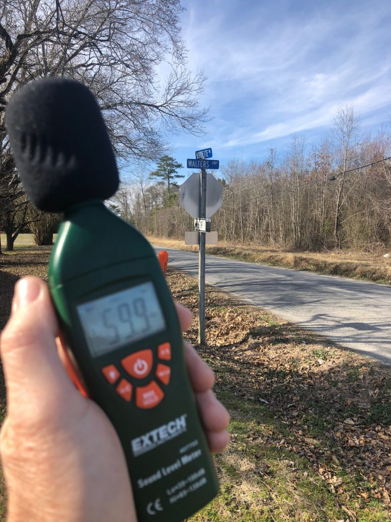sound measurement at Walters Highway and Burdette Road