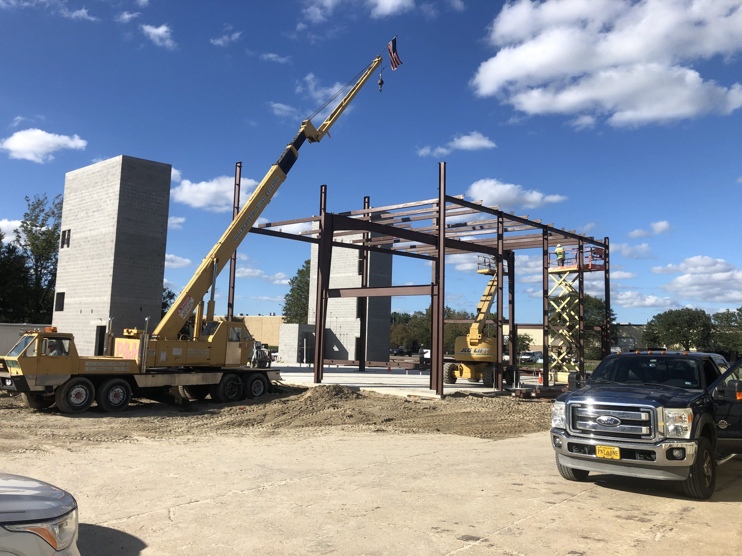 Steel frames going up
